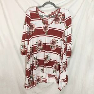 Tops - NWT Bohemian Floral Tunic Top with Rusty Stripes